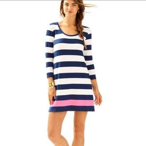 Lilly Pulitzer Devon Dress Navy Pink Striped S